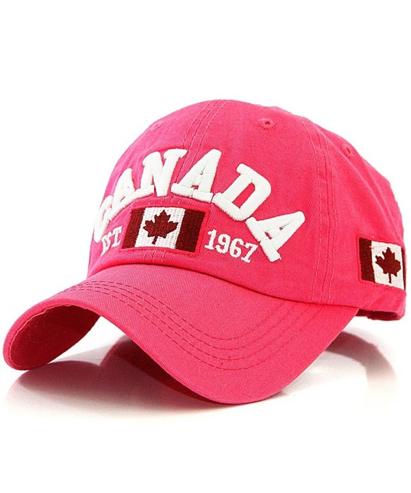 Canada with Canadian Flag Est. 1967 Baseball Cap Hat - Pink - CZ12HJWMY25