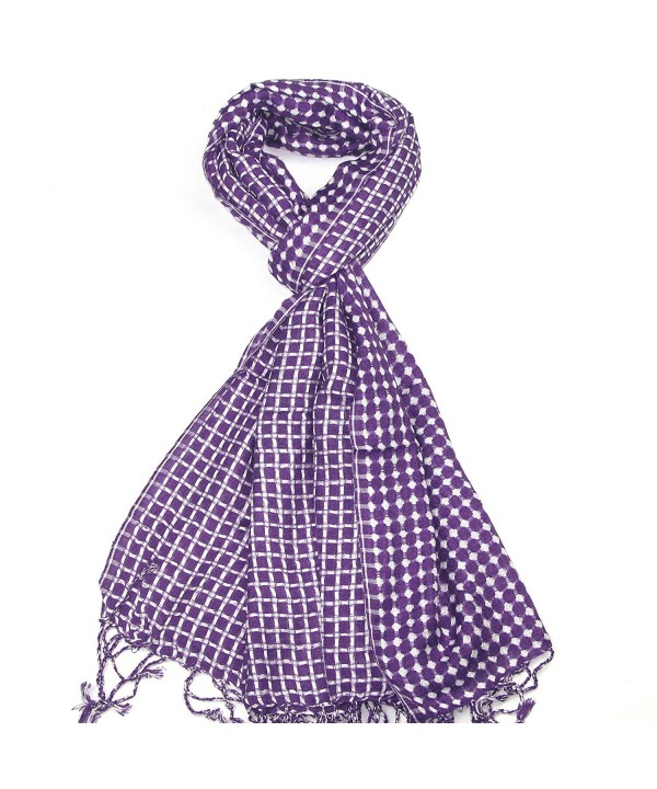 Lovarzi Check & Dot Scarf for Men and Women - Reversible mens and womens scarves - Purple - CV11HK3TGUH