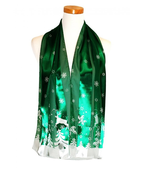 Christmas or Holiday Silk Feel Scarf Collection - Perfect Gift - Made in Korea - Snowy Day Green - CQ186TK0XAU