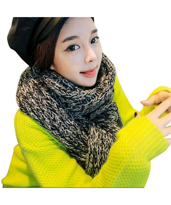 Unisex Mixed Color Wool Knitted Scarf Lovers Thickening Warm Extra Long Wrap Collar - Grey - CB12MFXTP2P