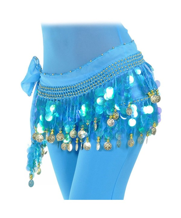 Women's Chiffon Belly Dancing Hip Scarf for Shimmy 1000 Shining Coins - Turquoise - CU186HHEMT3