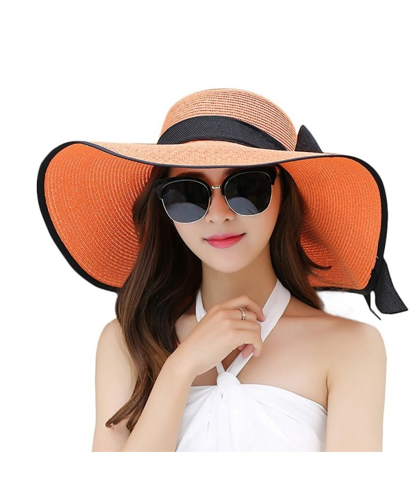 Women Floppy Hat Big Bowknot Straw Hat Wide Brim Beach Hat Sun Hat - Orange - CM17YDN95S7