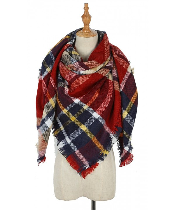 Warm women Tartan Scarf winter Blanket Shawl - Small Red Lattice - CU187ZLE9Y2
