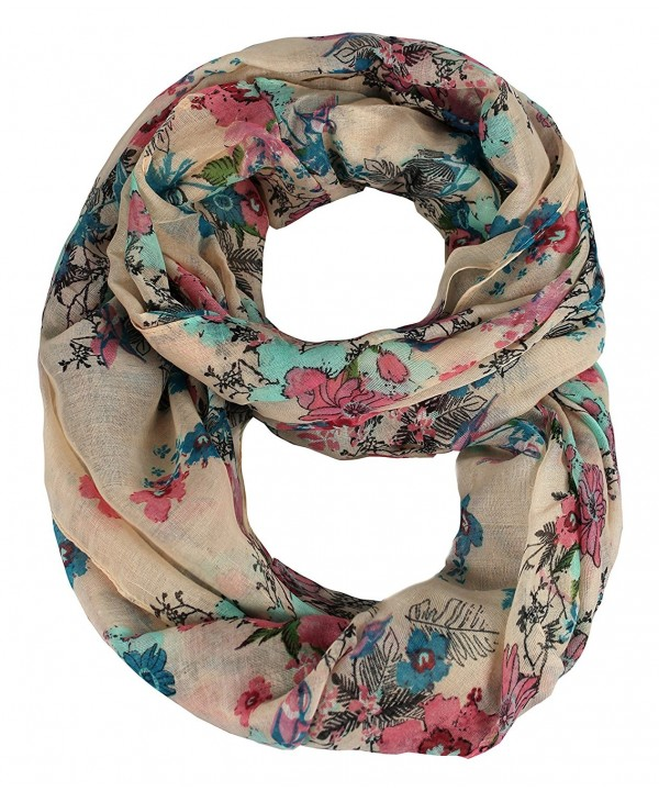 Peach Couture Paint The Town Red Cherry Blossom Floral Print Infinity loop Scarves - Peach - CG11KXX81AL