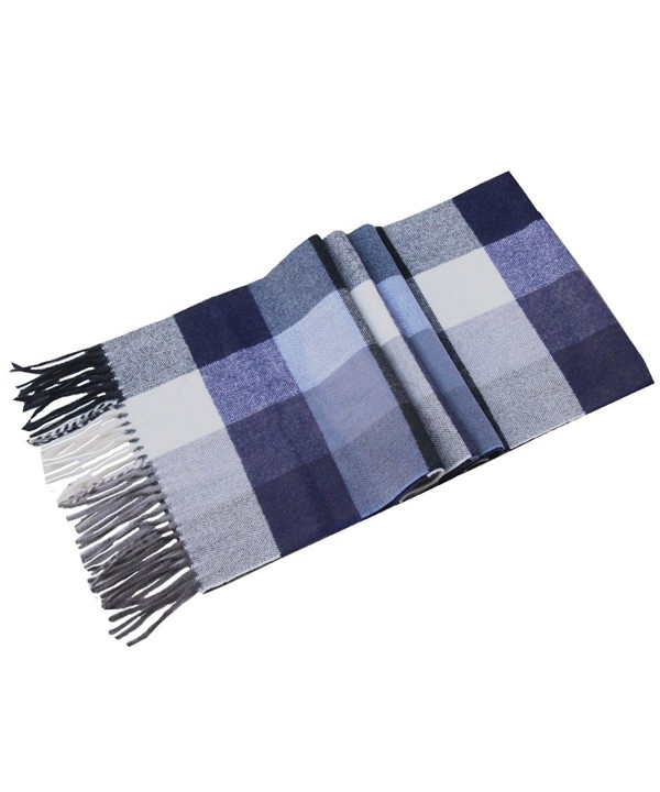 Lucky Leaf Women Men Winter Cozy 100% Wool Warm Tartan Checked Plaid Wrap Scarf with Gift Box - Navy White Plaid - C418624CQ2K