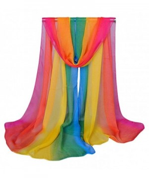 Aven Women Charming Silk Georgette Long Scarf Shawl Wrap - Rainbow - CL11XFMS3FB