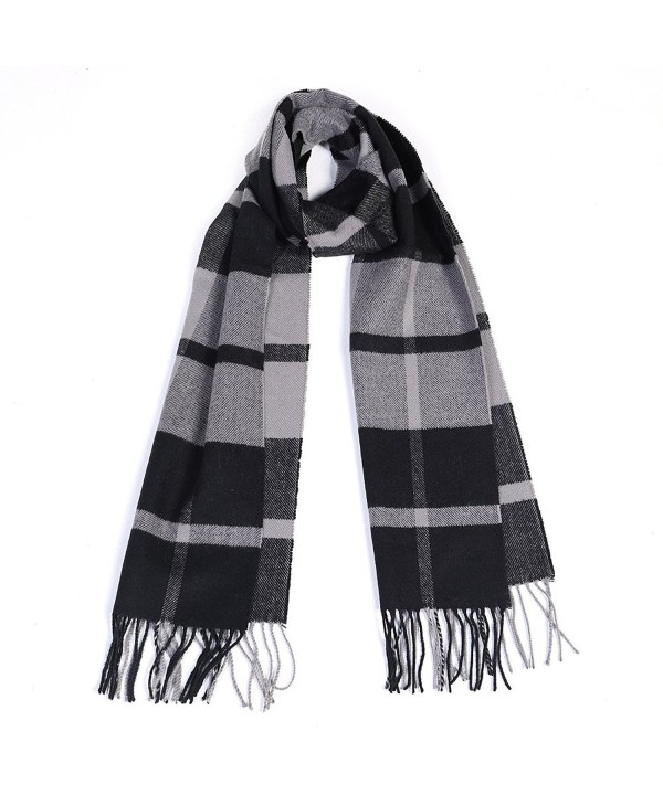 Winter Cashmere Cooling Lightweight Scarf for Women Mens Plaid Ladies Scarves - Black+grey - CB187CXY3S0