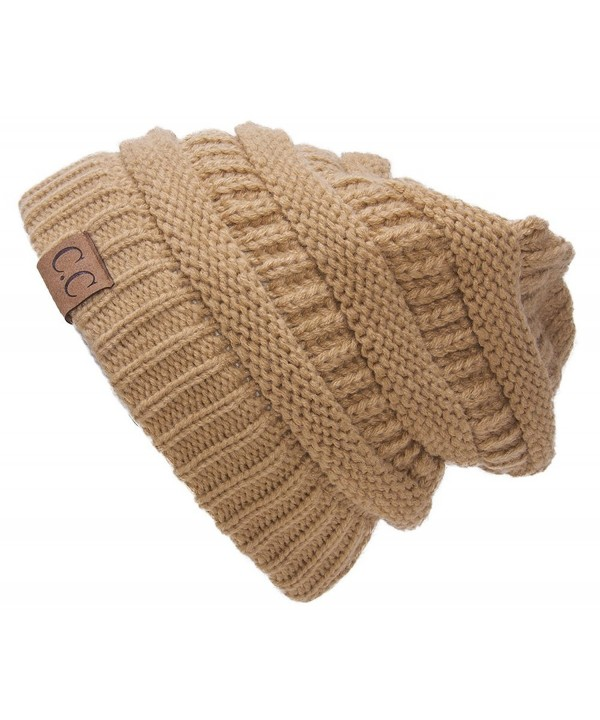 Thick Slouchy Knit Oversized Beanie Cap Hat - Camel - CP11PKNG9UT