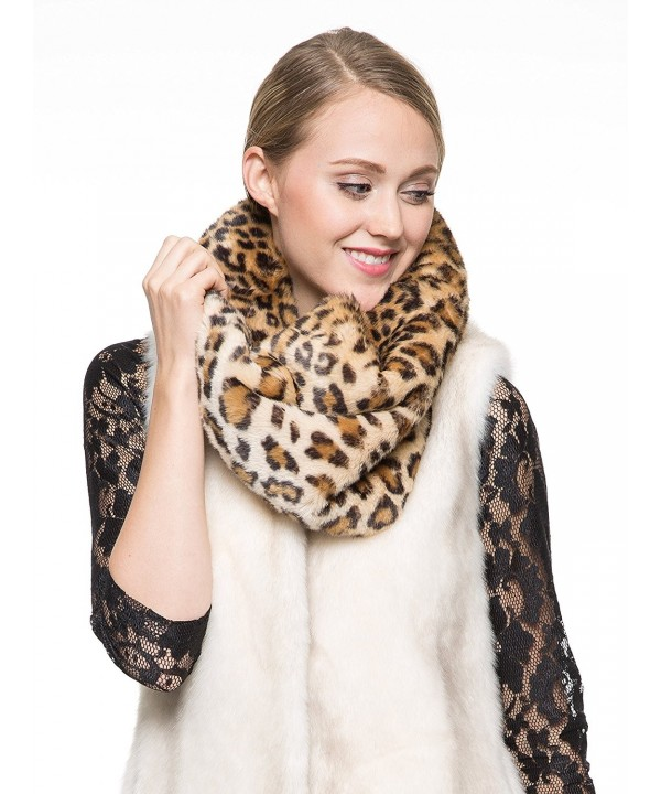 Adelaqueen Women's Fabulous Faux Fur Neck Warmer Infinity Scarf Multiple Colors - Medium Leopard - CP11SHGR39R