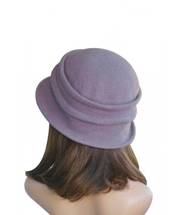 Lawliet New Stylish Womens Ladies 100% Wool Winter Warm Flower Cloche Bucket Hat A222 - Purple - CN11NIO9MLZ