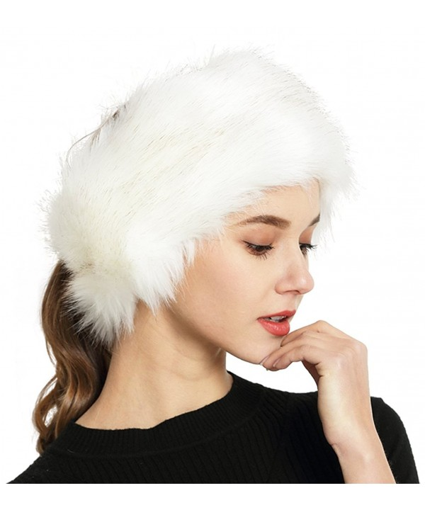 Lovful Womens Faux Fur Stretch Earwarmer Earmuff Headband Hat - White With Golden - CN188T2Y7GD