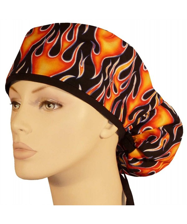 Big Hair Women's Medical Scrub Cap - Hot Rod Flames W/Black Tie - C317AAYRWHI
