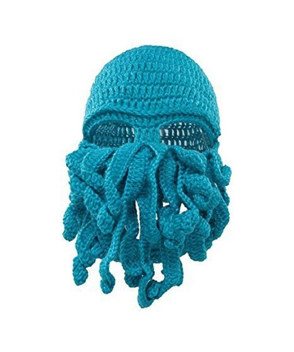 Unisex Octopus Hat Mask Windproof Funny Beanie Warm Knit Hat Halloween Christmas - Blue - C9185W59GR2