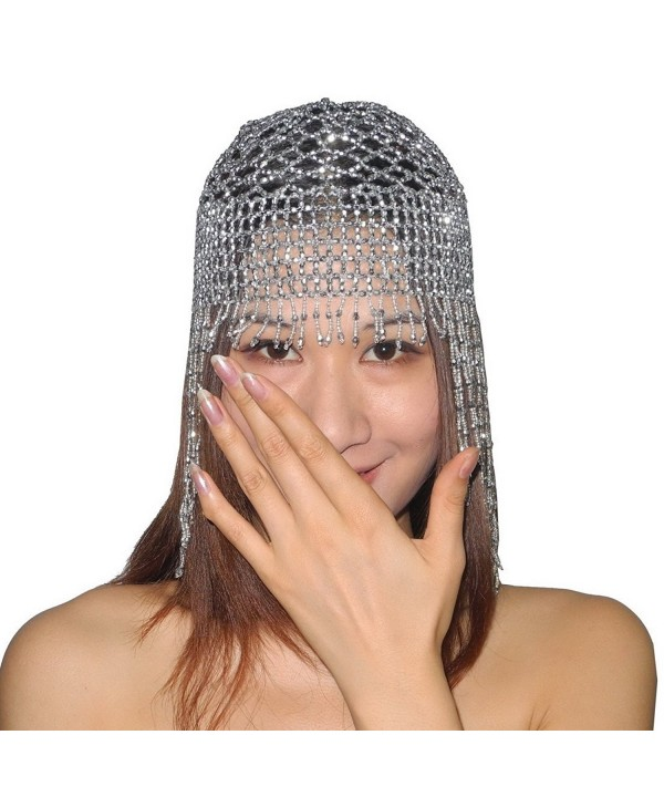 Womens Exotic Cleopatra Beaded Belly Dance Head Cap - Silver - CZ11IW837Q3