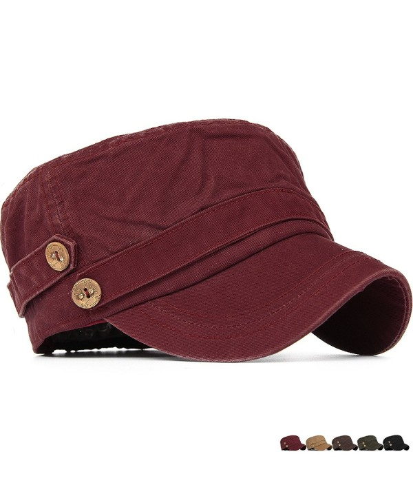 Rayna Fashion Unisex Adult Cadet Caps Military Hats Low Profile Elastic - Red - C312O1429TR