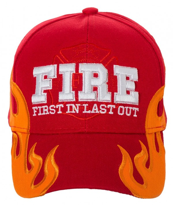 Artisan Owl First In Last Out Fire Rescue Flames Baseball Cap with Adjustable Strap - Red - CH1867R56CD
