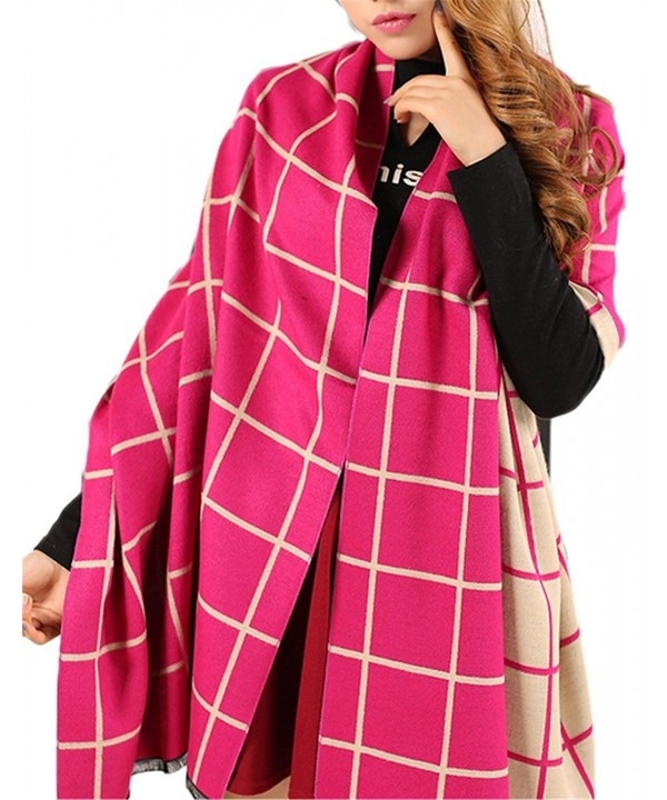 "Women's Soft Cashmere Wool Wraps Shawls Plaid Scarf Extra Large 78""x27"" (6 colors) - Color1 - CD12N6C1BSZ"