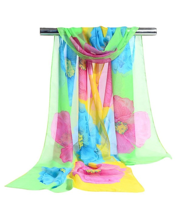 GERINLY Ladies Chiffon Scarves Spring Floral Shawl Sheer Scarf - Green+yellow - CC1836MWWLZ