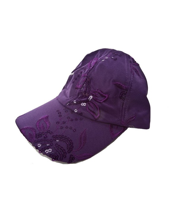 Purple Floral Sequin Cap - CS113X3FCW9