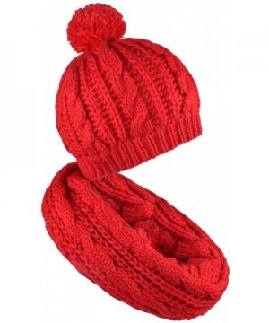Scarf and Hat Set Pompom Beanies Womens Knitted Infinity Scarves Skull Caps Mens - Red - CA187C9WYT4