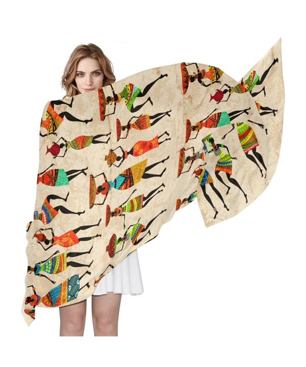 LORVIES Retro Beautiful African Women Silk Scarf Lightweight Long Scarf Shawl Wrap for Women - CL187E8EXM4