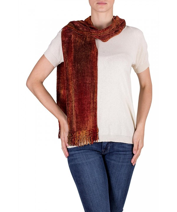 NOVICA Red and Orange Rayon Chenille Scarf- 'Orange Dreamer' - CP17Z29O9ZX