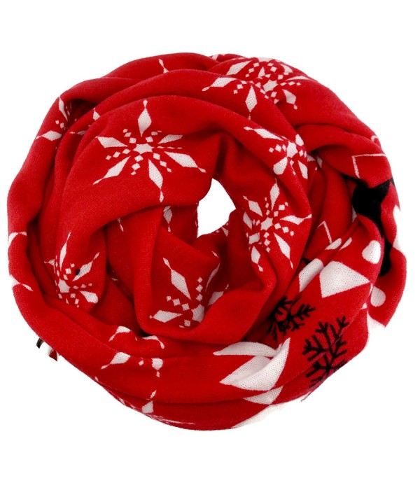 SnowFlake Pattern Winter Infinity Fashion Scarf - Red - CJ12NRGH2IB