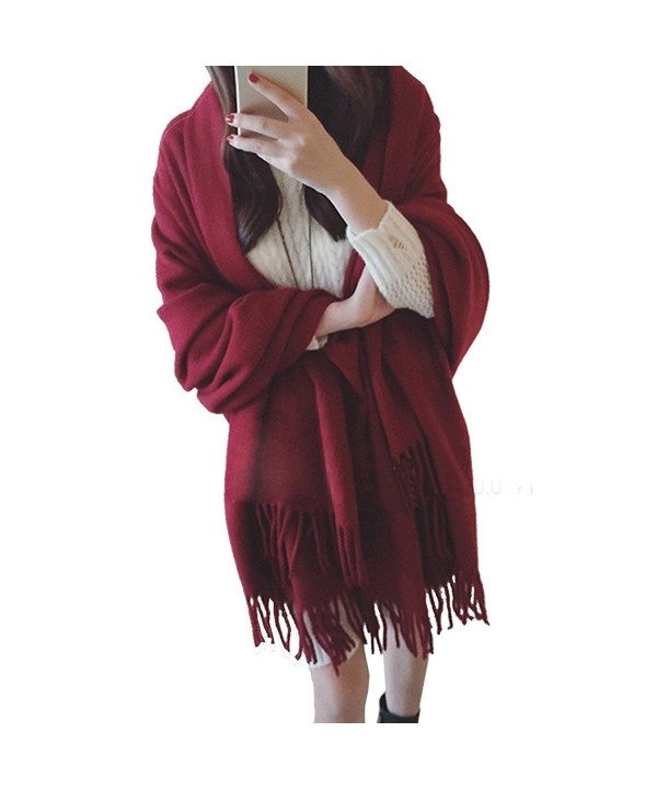 MorySong Soft Cashmere Feel Scarf Stole With Tassel Winter Warm Shawl Wrap for Women - Burgundy - CD186TDURQI