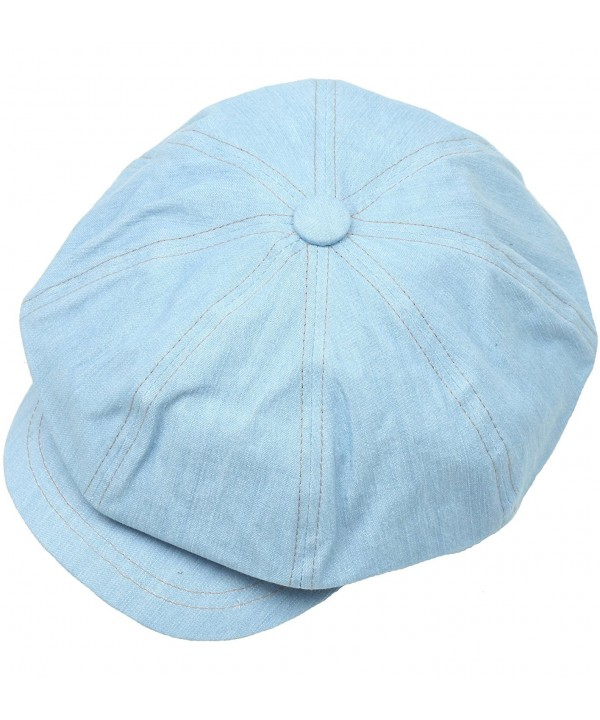 N237 Washing Denim Stitch Design Sexy Newsboy Cap Cabbie Golf Gatsby Driving Hat - Skyblue - C3124AQXQK1