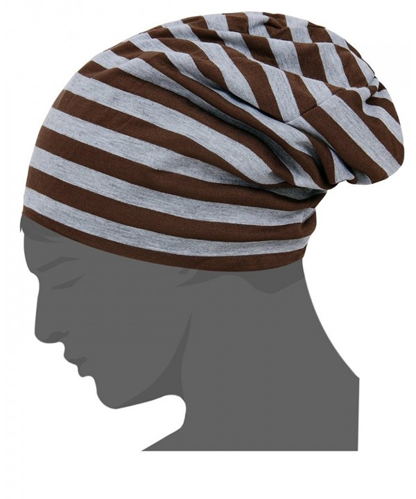 CIC Collection Unisex Essential Indoor Striped Slouchy Beanie - Coffee - Grey - CU12IVPKN3L