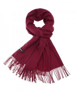 Sapp Large Soft Silky Pashmina Shawl Wraps Fringes Scarf in Solid Colors - Wine - CH186IG4GYH