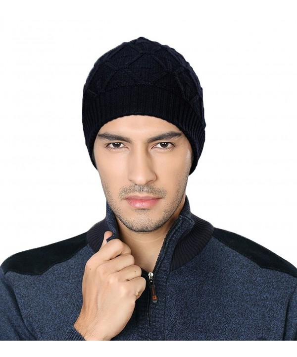 Men's Sport Knit Game Double Sides Can Wear Beanie Hat - Black_1 - CJ124OJE0B9