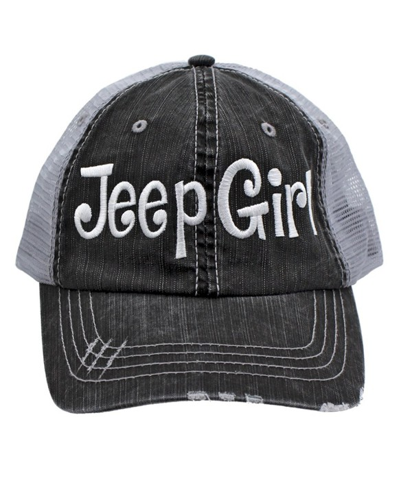 Jeep Girl Embroidered Trucker Style Cap Hat Grey Grey White - CM12NV2WQF6