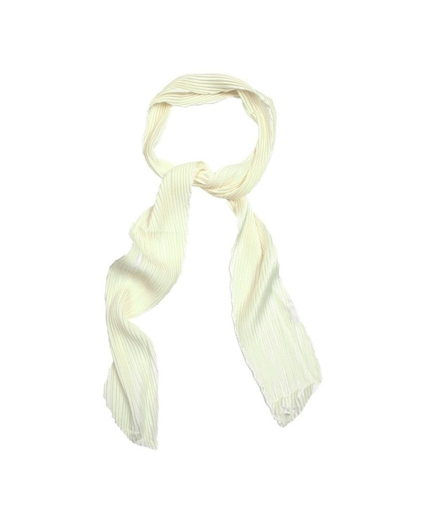 IvyFlair Women's Pleated Skinny Neck Scarf Tie in Different Colors - Cream - C112GQMGFDX