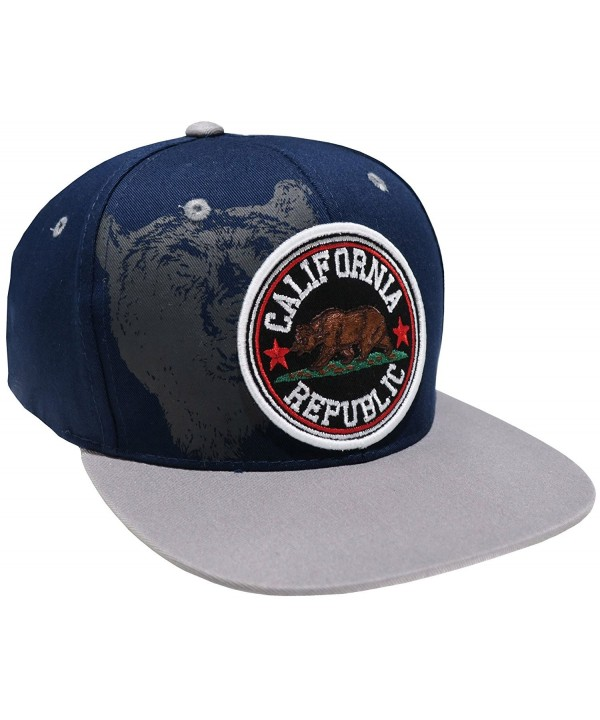 Leader Top Level Great Cities California Republic Embroidered Flat Bill Snapback Cap Hat - Navy Grey - CC17YRUG77G