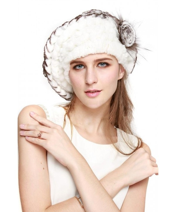vogueearth Women'Real Knitted Rex Rabbit Fur Winter Warmer Berets Hat - White Black - C511TXMS041