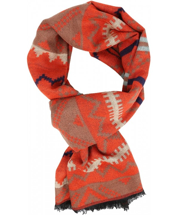 Sakkas Xayn Long Aztec Tribal Warm Patterned UniSex Cashmere Feel Scarf - Orange - C112LBF0AJT