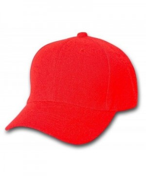 Plain Baseball Cap Blank Hat Solid Color Velcro Adjustable 13 Colors (Red) - CY11EWMBMHT
