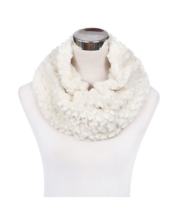 Soft Small Faux Fur Diamond Solid Color Warm Infinity Circle Scarf -Diff Colors - Cream - CO127X9OTMH