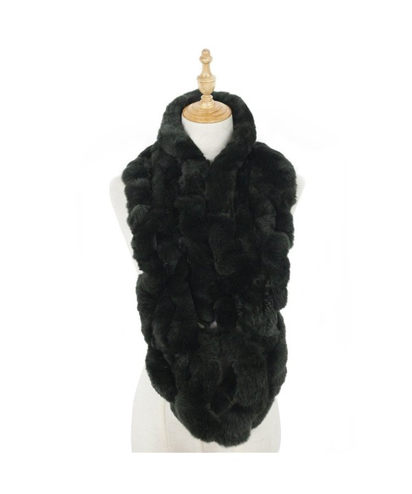 Real Fur Infinity Winter Scarf - Dark Green - CD12O2VWBB7