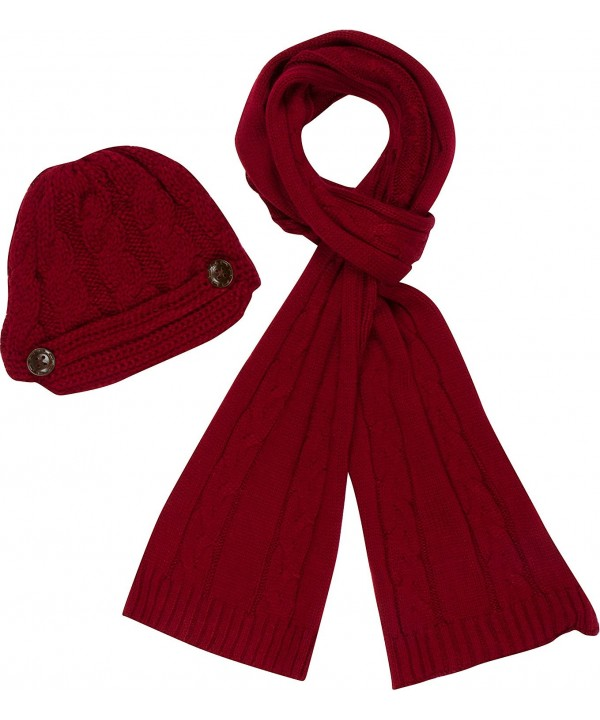 Sakkas Womens 2-piece Cable Knitted Visor Beanie Scarf and Hat Set with Button - Burgandy - C811LRZB4R7