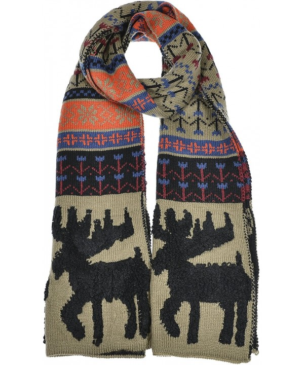 Hand By Hand Aprileo Women's Nordic Moose Knitted Scarf Winter Warmth Long - Taupe Multi. - C612GUFWSWX