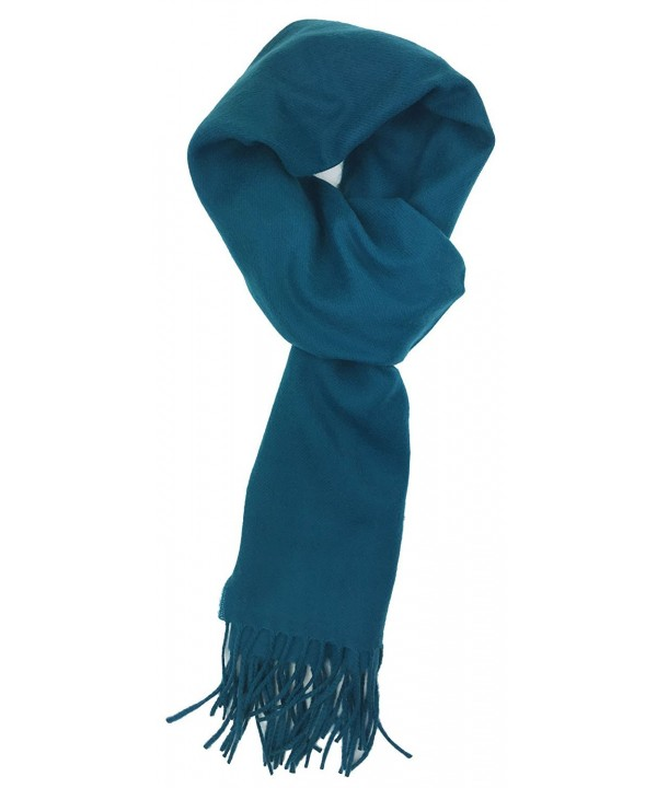 Plum Feathers Rich Solid Colors Cashmere Feel Winter Scarf - Teal - CK180ZE04SC