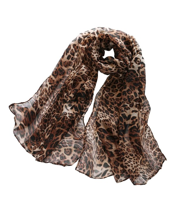 DAPENG Women Girl Chiffon Skull Printed Long Soft Scarf Shawl - Leopard - CJ12MMSLQEX