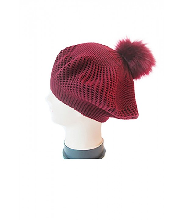 Womens PomPom Kintted Compy Solid Beret Fashion Skull Caps Hat HT44 - Burgundy (Ht4471) - CA18887YWNZ