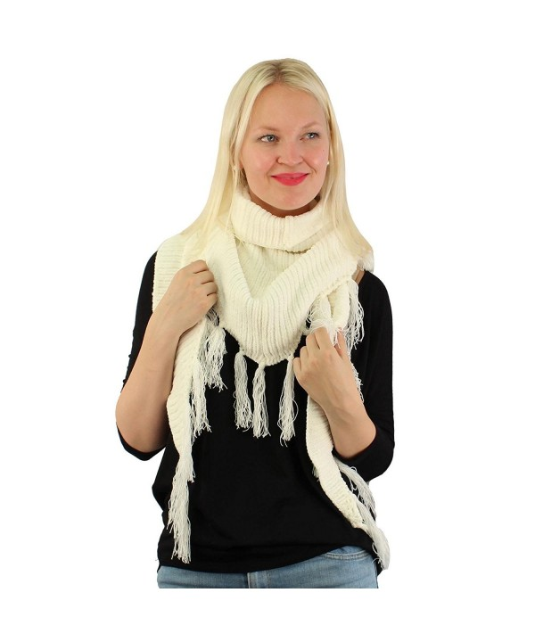 Winter Soft Chenille Triangle Tassle Chunky Fringe Thick Knit Scarf Wrap - Ivory - CY187346TIE