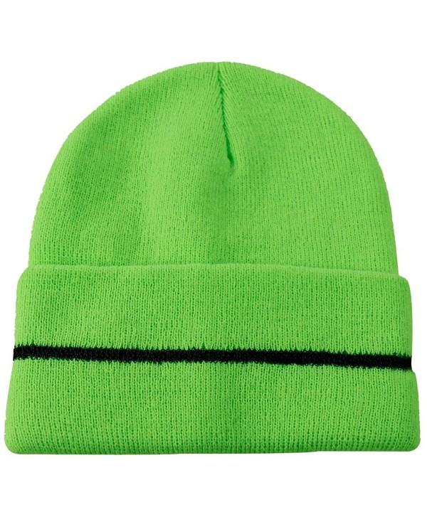JIBIL Winter Plain Beanies- Unisex Chunky Warm Reflective Knit Hat - 01flo Green - CH185LHDWEM