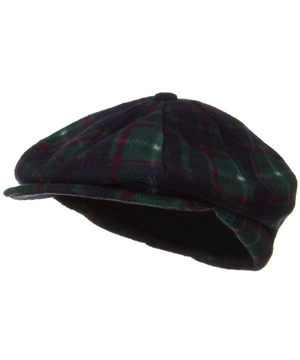 Fleece Winter Newsboy Hat Green Plaid C4116MT0HTT