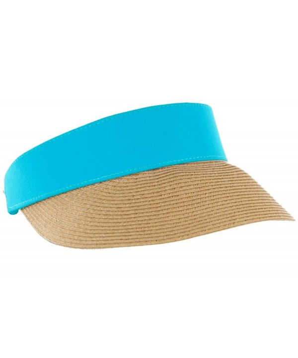 Funky Junque's Women's Beach Wide Brim UPF 50+ Summer Shade Straw Visor Sun Hat - Teal - CG17YH9XL39