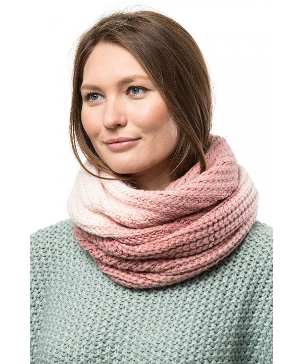 Marino's Women's Cable Knit Infinity Scarves - Fashion Winter Circle Scarf Wrap - Ombré Mauve - CB186DWESDQ
